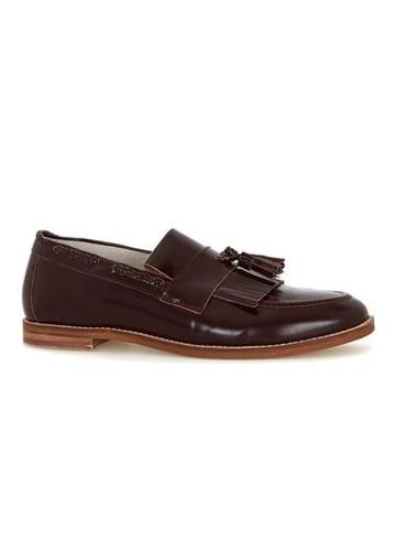 Topman Mens Red Burgundy High Shine Leather Tassel Fringe Loafers
