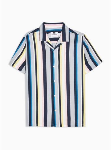 Topman Mens Multi Short Sleeve Miami Revere Shirt