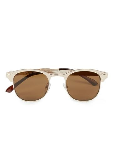 Topman Mens Metallic Gold Metal Half Frame Retro Sunglasses