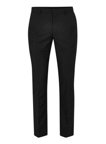 Topman Mens Black Skinny Suit Pants With Red Embroidered Badges