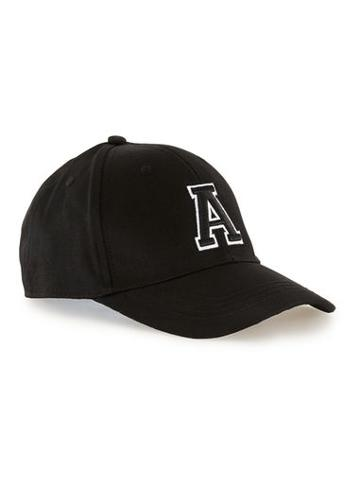 Topman Mens Black Embroidered Curved Peak Cap