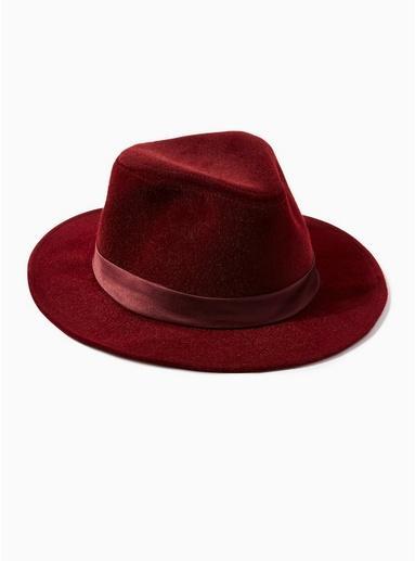 Topman Mens Red Burgundy Fedora Hat