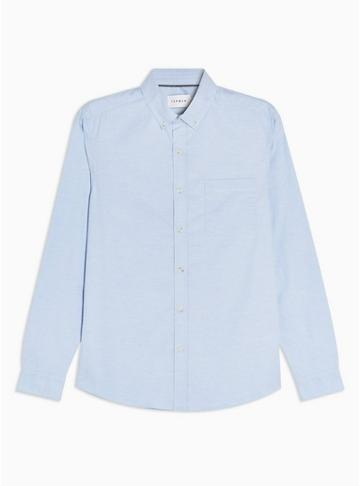 Topman Mens Blue Stripe Stretch Skinny Oxford Shirt