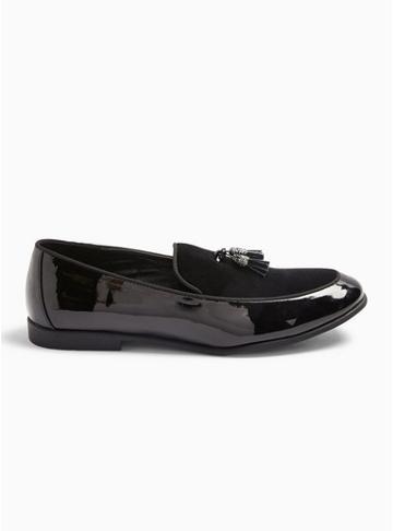 Topman Mens Black Pu And Velvet 'arlo' Velvet Loafers