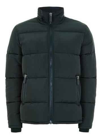 Topman Mens Dark Green Puffer Jacket