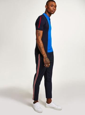 Topman Mens Blue Navy And Red Short Sleeve Polo Jumper
