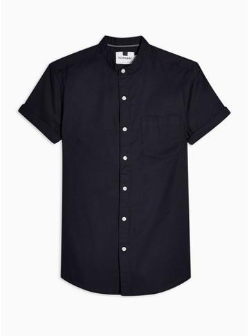 Topman Mens Navy Stand Collar Stretch Skinny Oxford Shirt