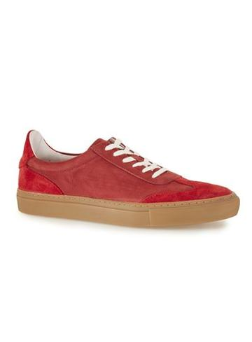 Topman Mens Red Leather And Suede Retro Sneakers
