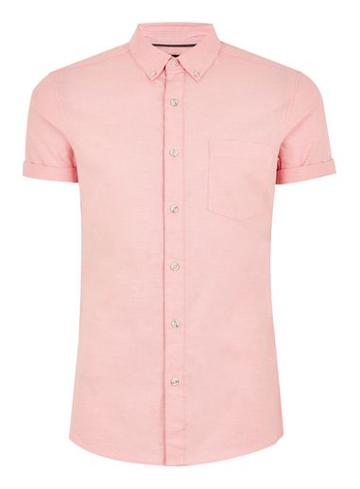 Topman Mens Salmon Pink Muscle Short Sleeve Oxford Shirt
