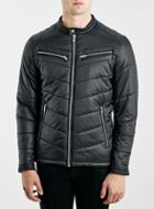 Topman Mens Selected Homme Black Biker Jacket
