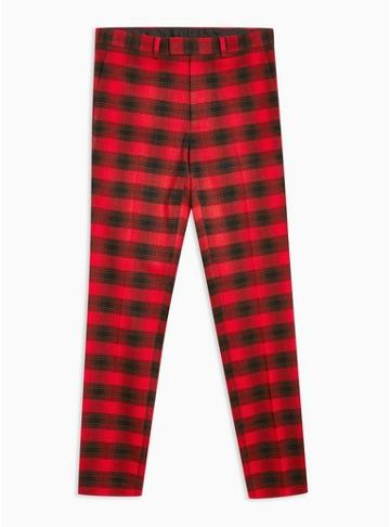 Topman Mens Red Check Skinny Trousers