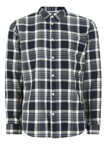 Topman Mens Selected Homme Blue Checked Shirt
