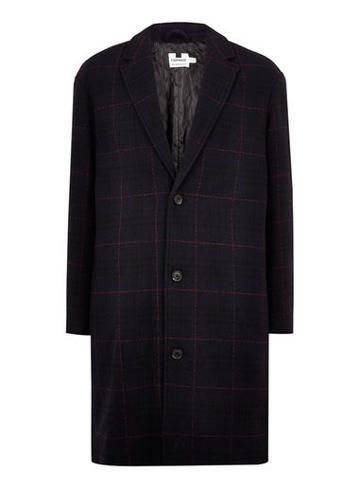 Topman Mens Navy Check Oversized Overcoat