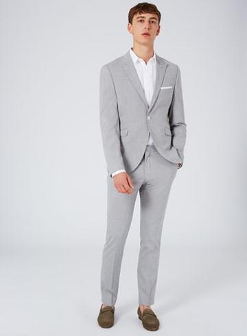 Topman Mens Grey Selected Homme Light Gray Slim Fit Suit Jacket