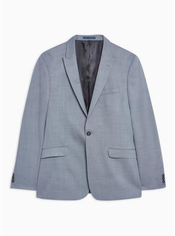 Topman Mens Navy Premium Blue Textured Skinny Blazer