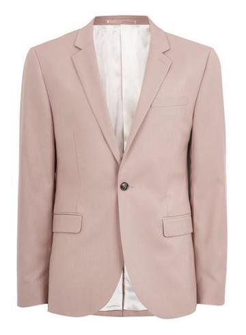Topman Mens Rosedust Pink Skinny Fit Suit Jacket