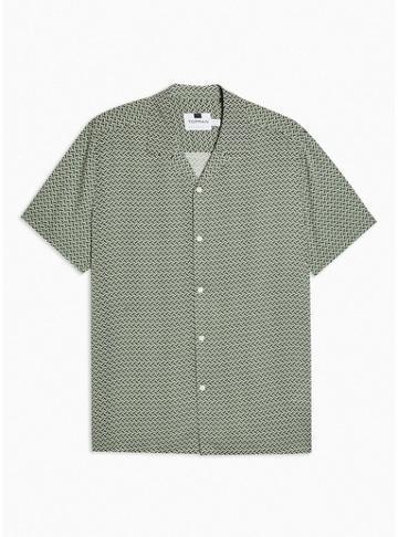 Topman Mens Green Geometric Print Revere Shirt