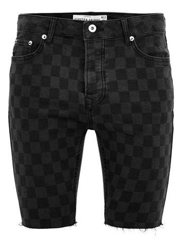 Topman Mens Black Laser Check Stretch Slim Shorts