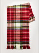 Topman Mens Red Check Reverse Brushed Scarf