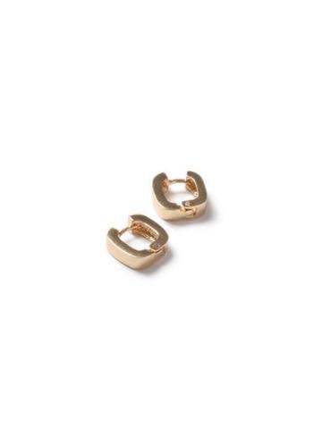 Topman Mens Gold Look Square Hoop Earrings*