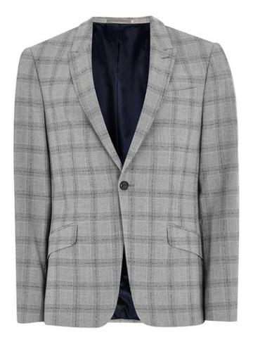 Topman Mens Black And White Check Neppy Muscle Fit Suit Jacket