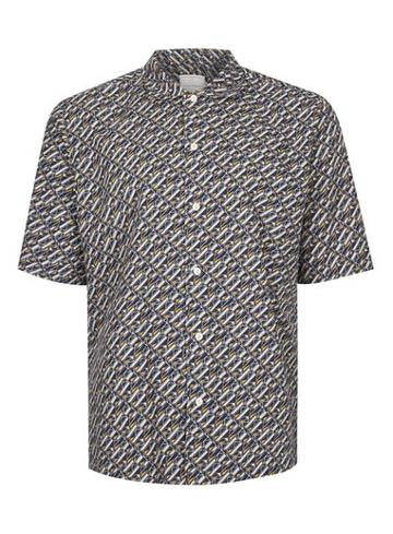 Topman Mens Multi Topman Premium Geo Print Short Sleeve Casual Shirt