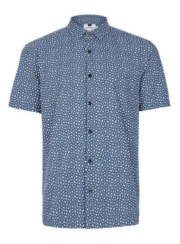 Topman Mens Blue Bubble Print Short Sleeve Casual Shirt