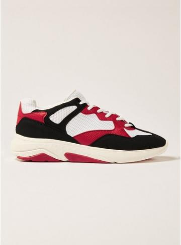 Topman Mens White Mesh, Red And Black Chunky Birch Trainers