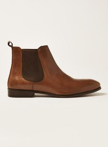 Topman Mens Brown Tan Leather Throne Chelsea Boots