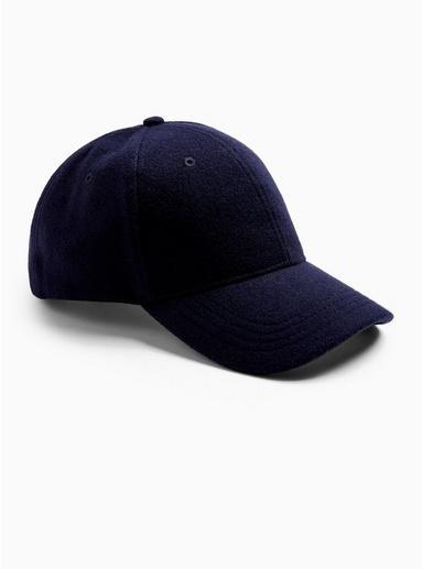 Topman Mens Navy Melton Curve Peak Cap