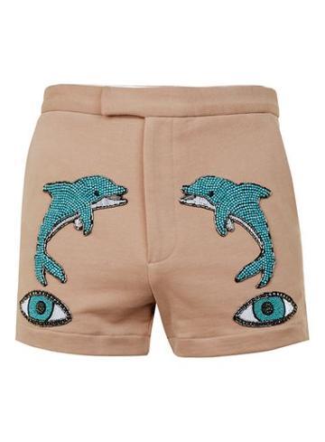Topman Mens Topman Design Brown Dolphin Eye Jersey Shorts