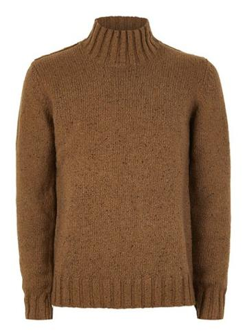 Topman Mens Selected Homme Brown High Neck Jumper