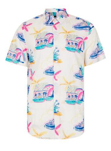 Topman Mens Blue Abstract Floral Print Short Sleeve Casual Shirt
