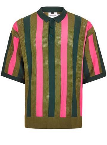 Topman Mens Khaki Mesh Polo Sweater