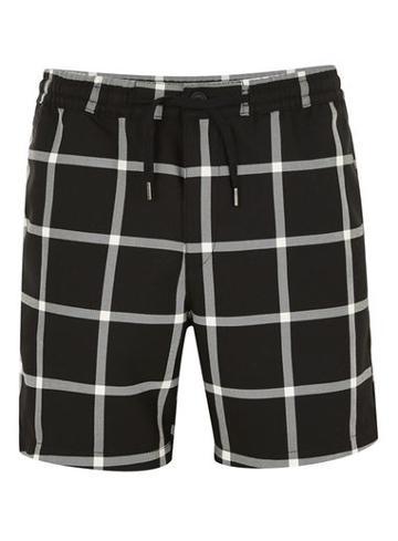Topman Mens Multi Black Windowpane Shorts