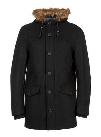 Topman Black Wool Mix Parka Coat