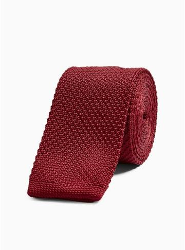 Topman Mens Red Burgundy Plain Knitted Tie