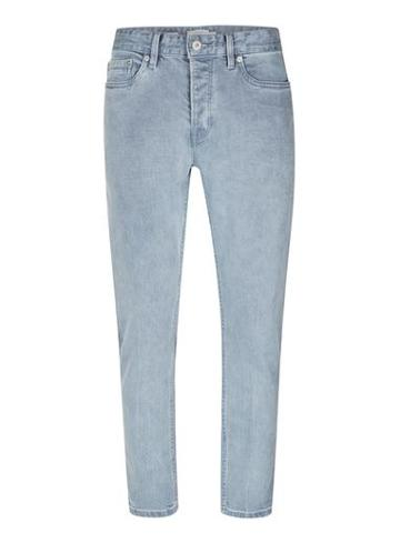 Topman Mens Grey Washed Gray Cropped Stretch Slim Jeans
