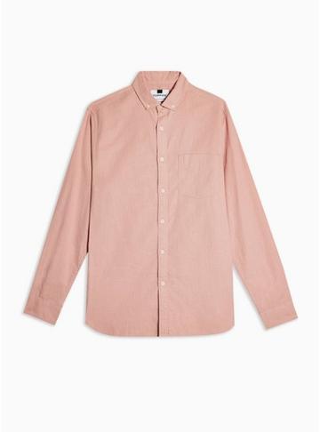 Topman Mens Pink Slim Shirt With Linen