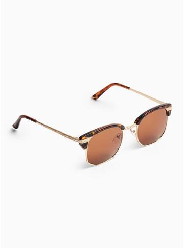 Topman Mens Tortoiseshell Gold Coin Sunglasses