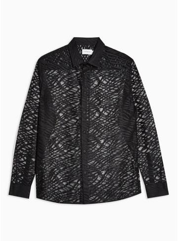 Topman Mens Black Zebra Print Lace Slim Shirt