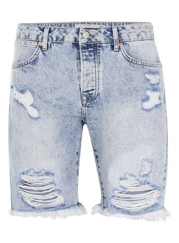 Topman Mens Light Blue Slim Fit Ripped Denim Shorts