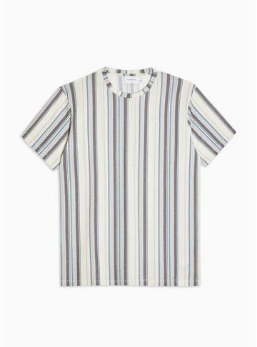 Topman Mens White Stripe Crew Neck T-shirt