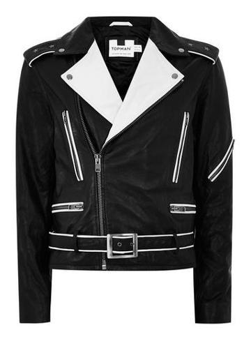 Topman Mens Black And White Leather Biker Jacket