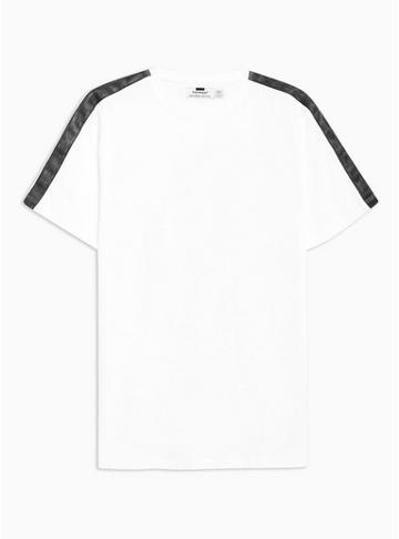 Topman Mens White And Black Wash Taped T-shirt