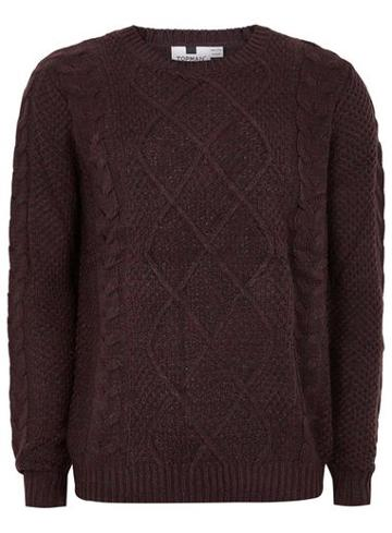Topman Mens Red Burgundy Cable Knit Sweater