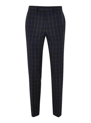 Topman Mens Blue Navy And Brown Check Muscle Fit Suit Pants