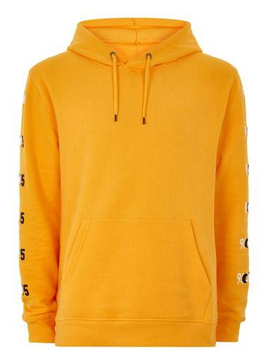 Topman Mens Yellow Embroidered Hoodie