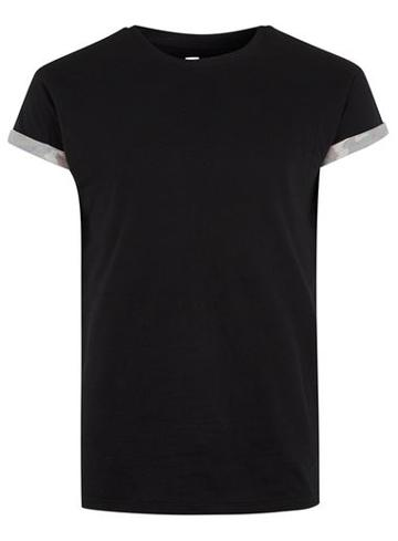 Topman Mens Black Camouflage Sleeve Muscle Fit T-shirt