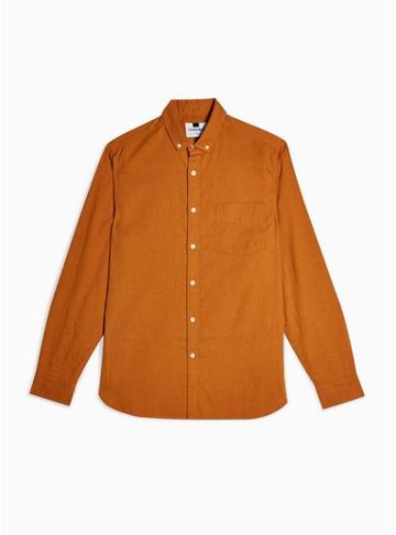 Topman Mens Brown Tobacco Slim Shirt With Linen
